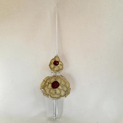 Vârf brad Crăciun dantelă aurie metalizată, 32cm