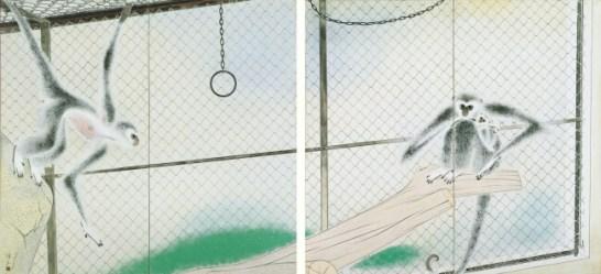 《和春》昭和22(1947)年、紙本着色・二曲屏風一双、横浜美術館蔵(山口久像氏寄贈)