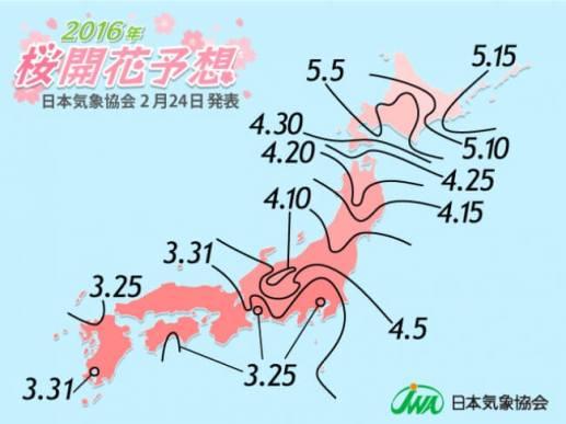 2016年 桜開花予想前線図(第2回)