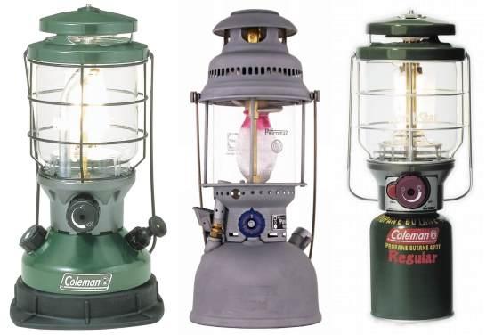 左から、ガソリン、灯油、OD ガス缶を使うランタン