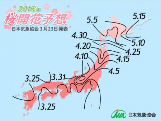 2016年 桜開花予想前線図(第6回) – 日本気象協会