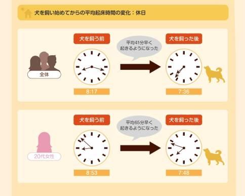 犬を飼い始めてから、生活リズムにどのような変化がありましたか?(単一回答) - 平均起床時間の変化:休日