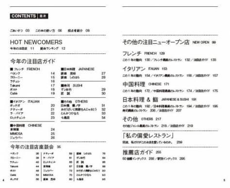 『東京最高のレストラン2018』(ぴあ)目次