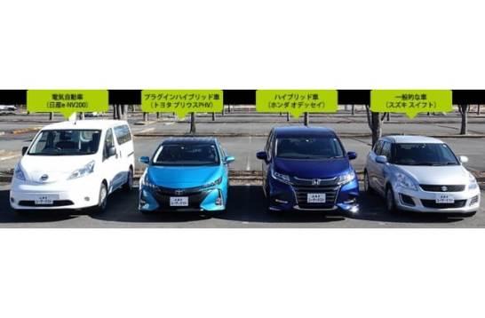 テスト車(左からEV、PHV、HV、一般的な車)