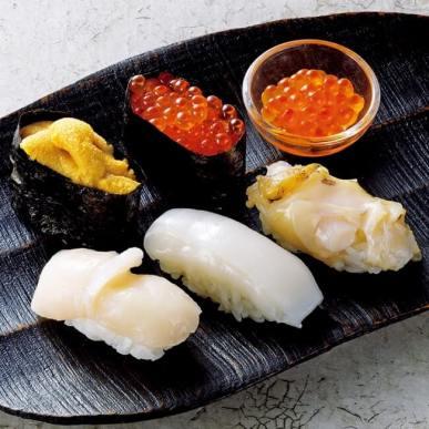 【札幌】鮨処 竜敏/旬の蝦夷握り(5貫・いくら小鉢、1セット)
