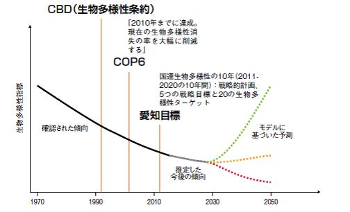 図2 生物多様性の損失を表す予想図。今後の積極的な取り組み次第で、下降線を上昇線に変えることができる可能性を示す。