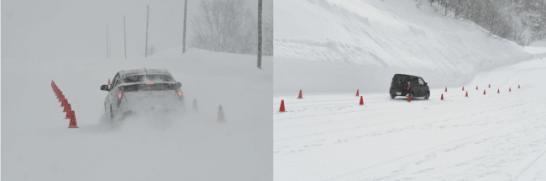 平坦路(左写真)と下り坂(右写真)でブレーキ性能を検証