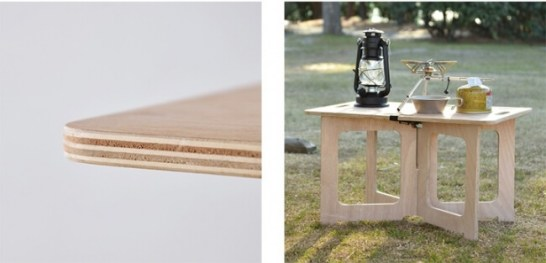 パネルは計5層のプレス成型されたプライウッド。      テーブル以外にも小物置きとしても最適。
