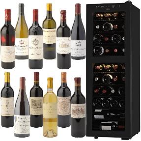 ボルドー・メドック1級/ブルゴーニュ特級入りワイン12本とさくら製作所低温冷蔵ワインセラー 38本収納セット