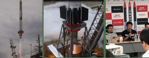 民間ロケット「MOMO 4号機」の打ち上げ風景(写真左・中)