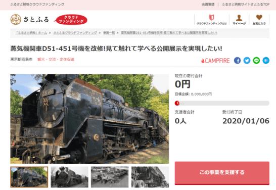 """さとふる、東京都昭島市のD51型蒸気機関車を""""見て触れて学べる公開展示""""にするための寄付受け付けを開始"""