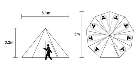 新製品:薪ストーブの自在設置が可能な【ストーブテント ノナT/C】