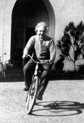 PHOTO OF SCIENTIST EINSTEIN ON BICYCLE PART OF NEW MUSEUM EXHIBIT