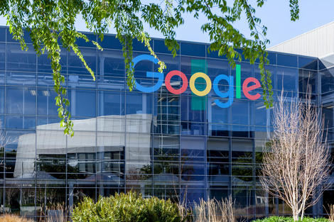 Google sign on the building at Google's headquarters in Silicon Valley .