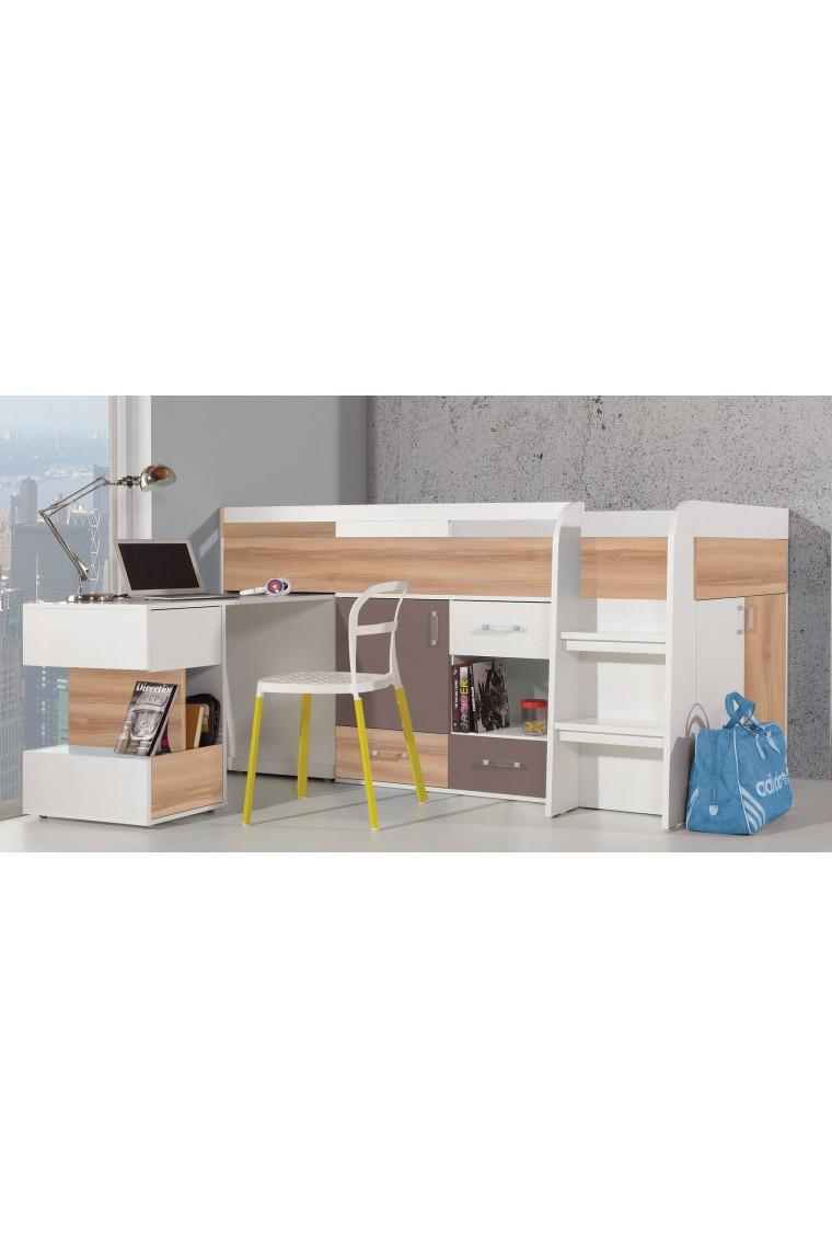 lit mezzanine sureleve combine avec bureau et commode blog 200x90 cm