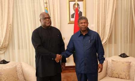 Presidente de Angola, João Lourenço, com o homólogo da RDC, Félix Tshisekedi