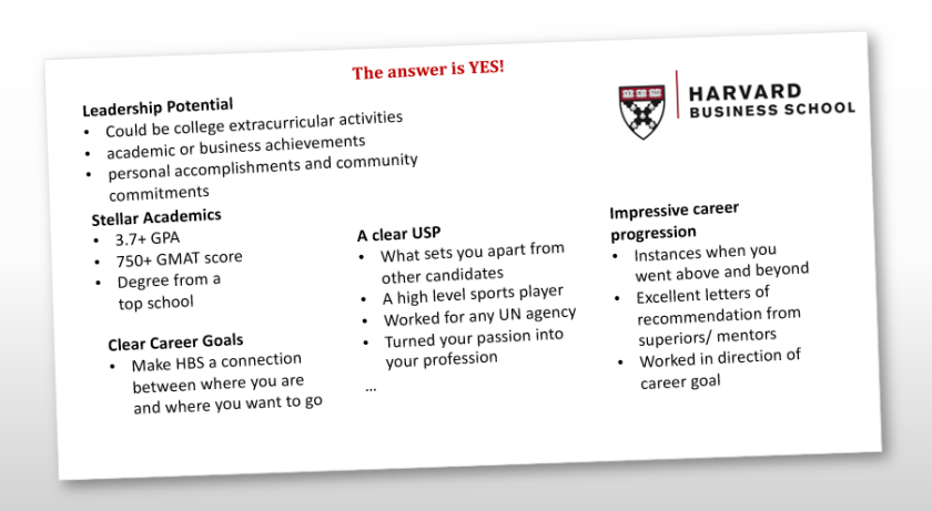 how to get into hbs mba