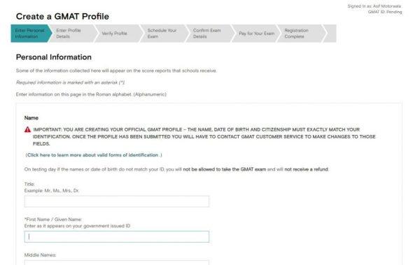 GMAT Test Center Booking Process