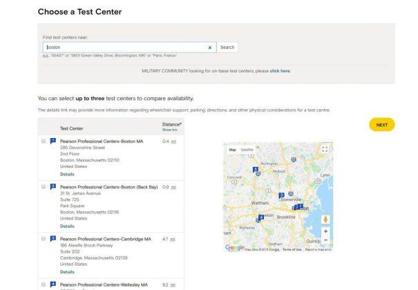 Selecting a GMAT test center