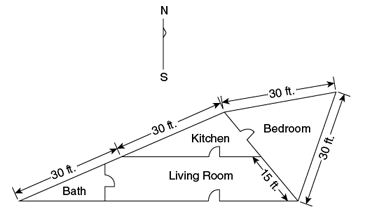 In the floor plan of an executive's beach house above, the north and south walls of the living room are parallel. What is the floor area, in square feet, of the bedroom? – OG 2020 Question #99 with Solution