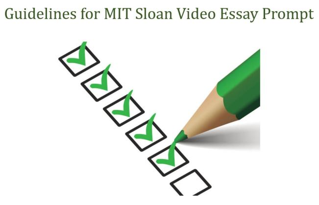MIT SLoan Video Essay Guidelines