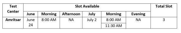 Amritsar gmat timing slots