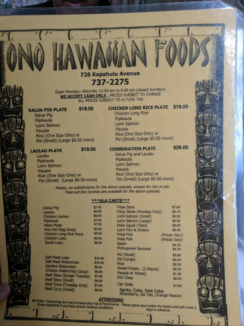 Ono Hawaiian Foods Menu