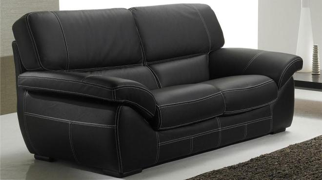 Canape cuir 3 places noir