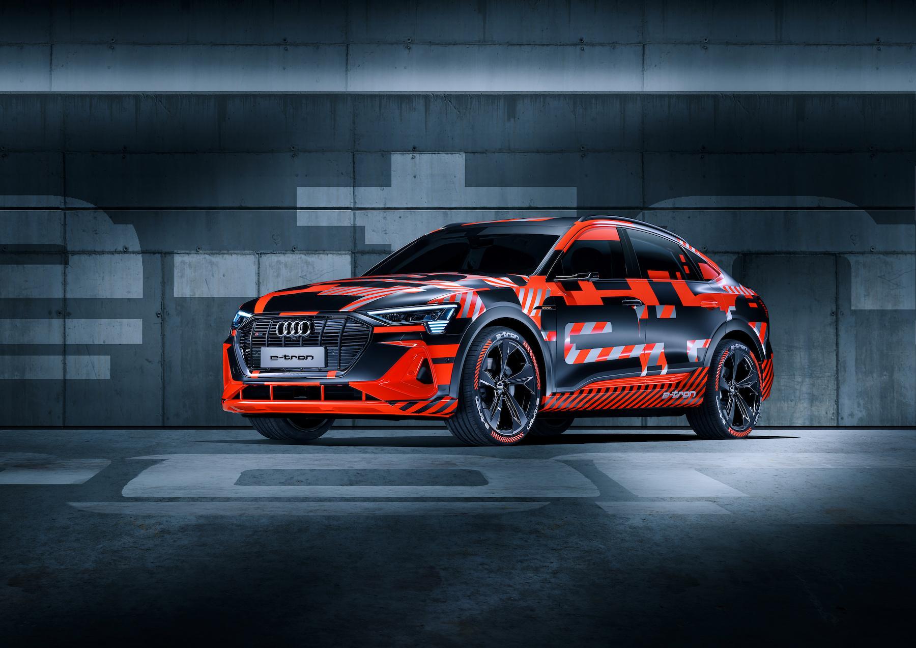 La versione coupé dell'e-tron Sportback che Audi ha esposto a Ginevra, ancora nella sua veste di prototipo. (AUDI)
