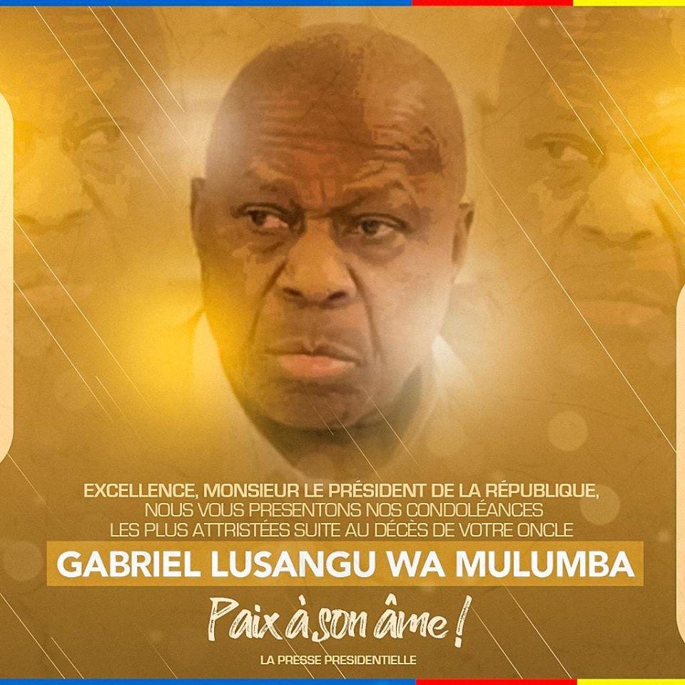 Décès ce jour de monsieur Gabriel Lusangu wa Mulumba 1