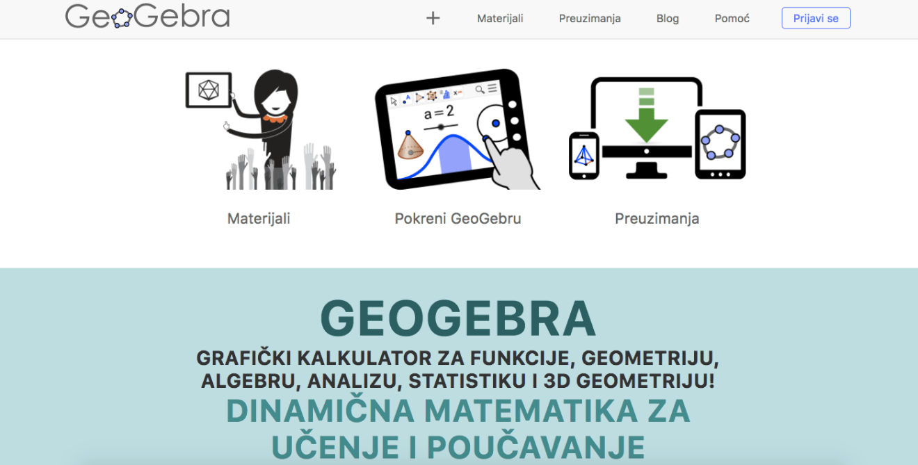 Naslovna stranica GeoGebre