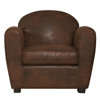 fauteuil cuir vieilli marron clair
