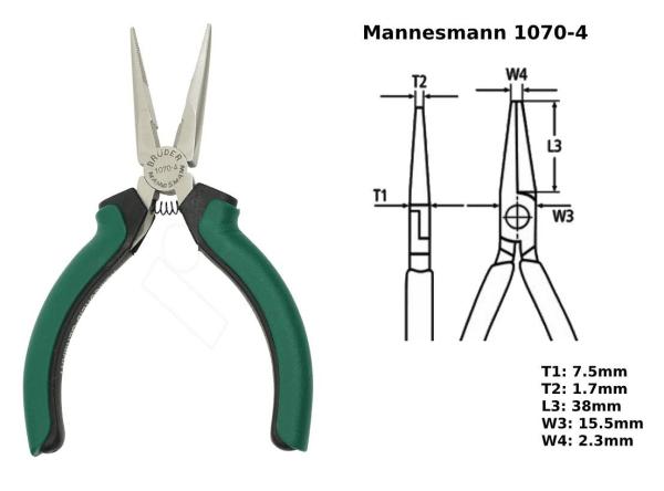 MANNESMANN Μυτοτσίμπιδο Ίσιο Μίνι Ηλεκτρονικών 130mm