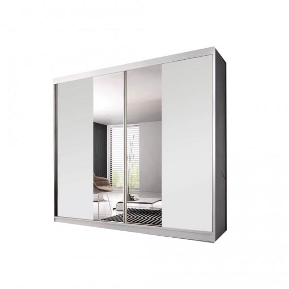 armoire a portes coulissantes ben 38 233 blanc matt avec miroir