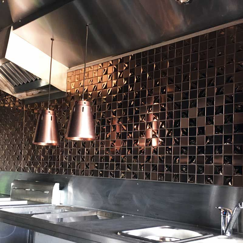 feature accent wall backsplash 3d rose gold square stainless steel mosaic tile bronze