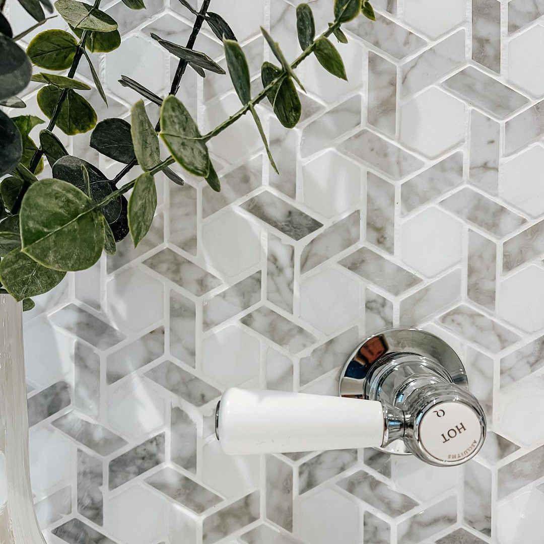 windmill shape carrara white marble stone mosaic tile bath wall and floor kitchen backsplash hexagon
