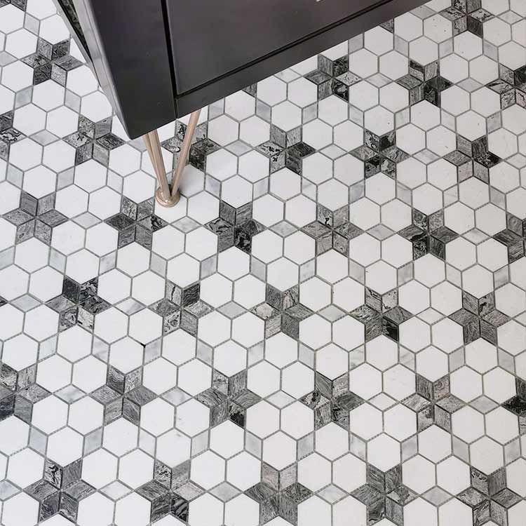 grey hexagonal star wall and floor tile marble stone kitchen bathroom backsplash