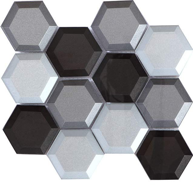 crystal glass mosaic tile hexagon silver and brown back beveled glossy 73mm