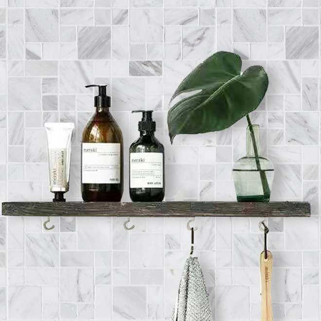 random square carrara white marble stone mosaic tile bath wall and floor kitchen backsplash