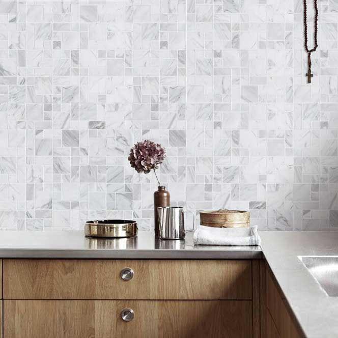 carrara marble mosaic tile backsplash