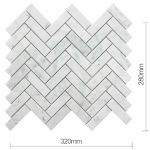 Bath Wall And Floor Mosaic Tile Kitchen Backsplash Herringbone Marble Carrara White