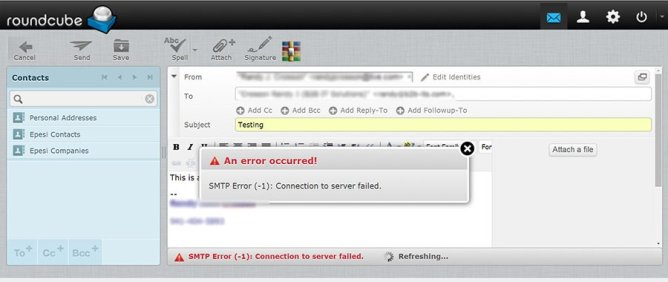 Webmail roundcube mail client SMTP Error (-1): Connection to server failed.