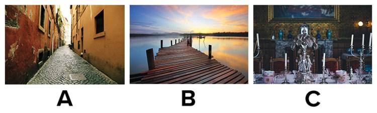 Choice between a) a cobblestone street, b) a wooden dock, c) a fancy dinner table