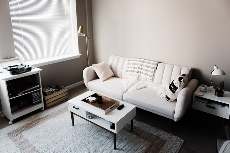 A cream-coloured in a living room