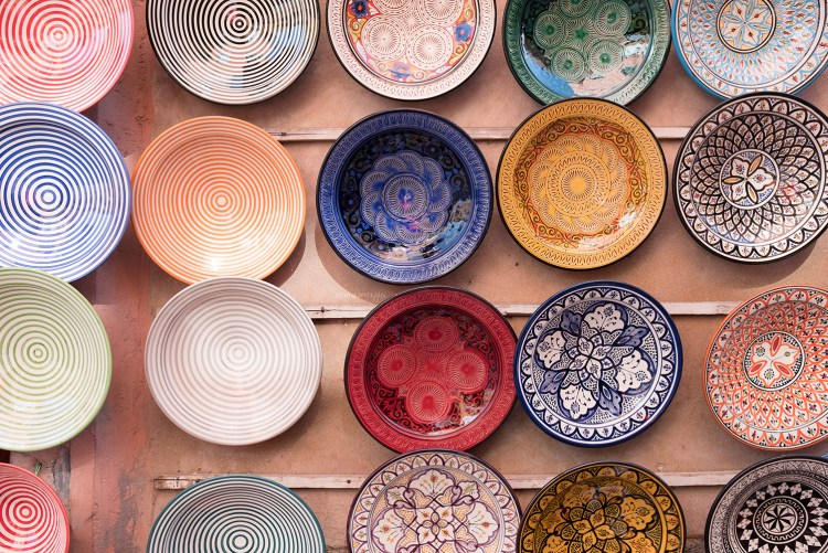 decorative plates hanging on a wall