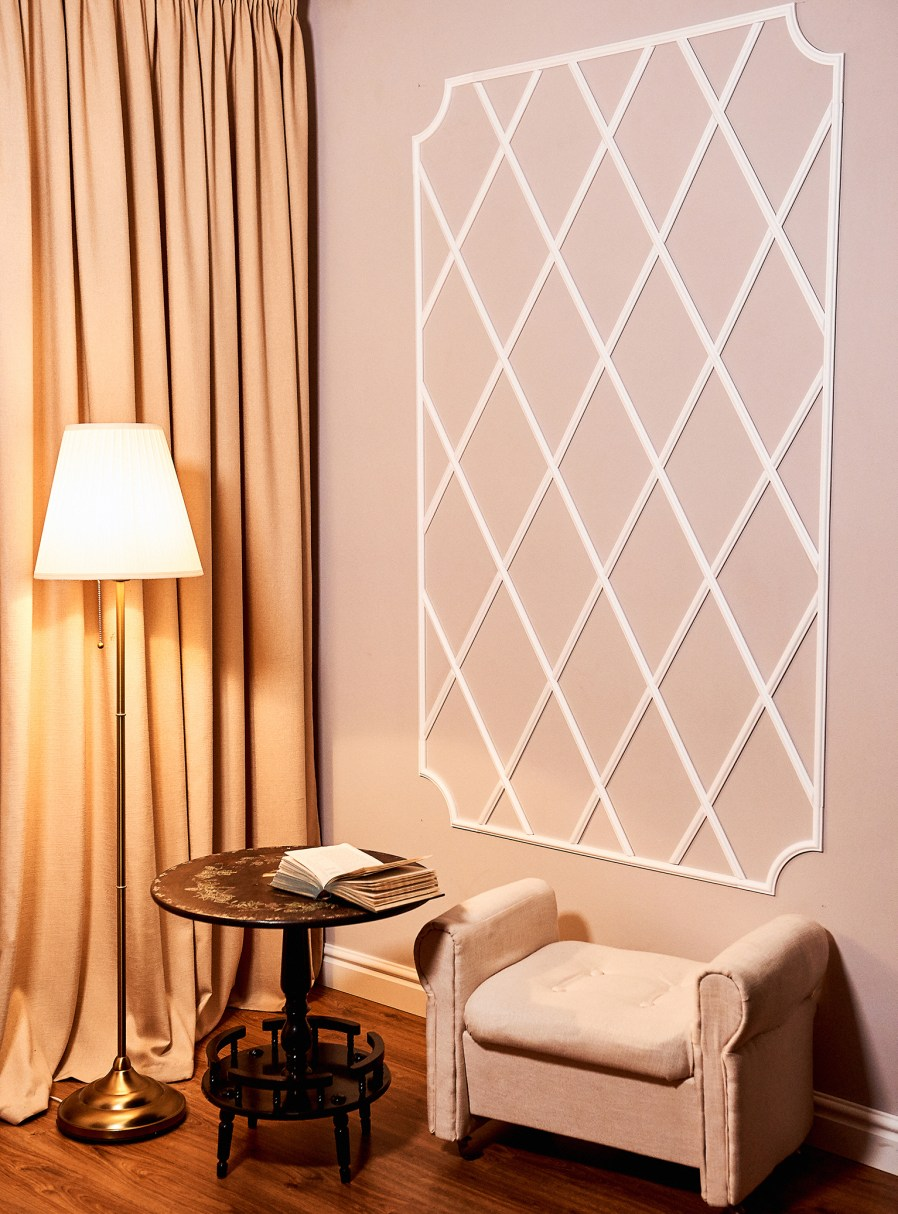 lattice work on a wall in a reading corner