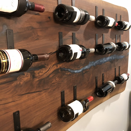 a live-edge wine display