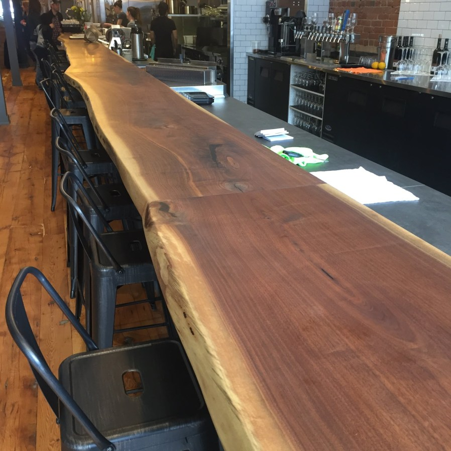 a live-edge bar top