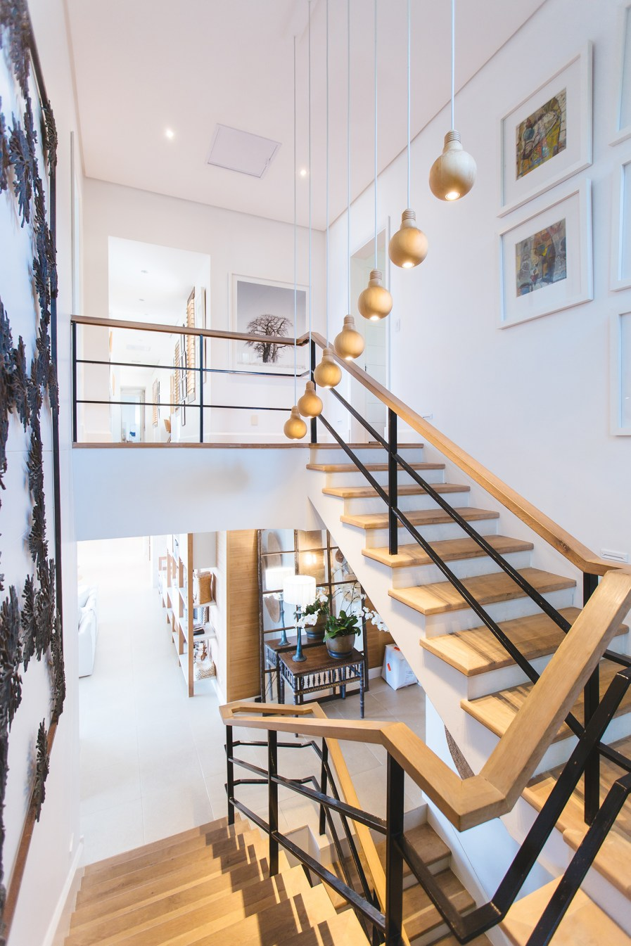 An open staircase leading up to a loft space