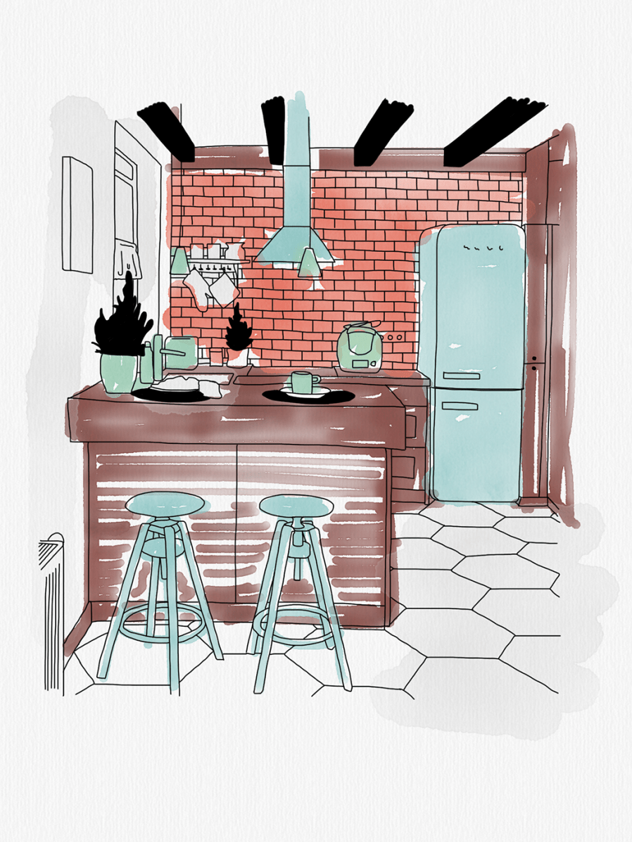 An illustration of a small eat-in kitchen in red, brown, and blue